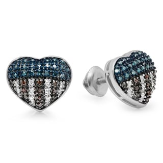 Sterling Silver 1/3ct TDW Multi-color Diamond Patriotic Stud Earrings (I2-I3)