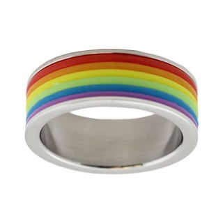 Stainless Steel Gay Pride Rainbow Ring