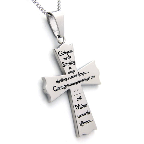 Serenity Prayer Cross Stainless Steel Pendant