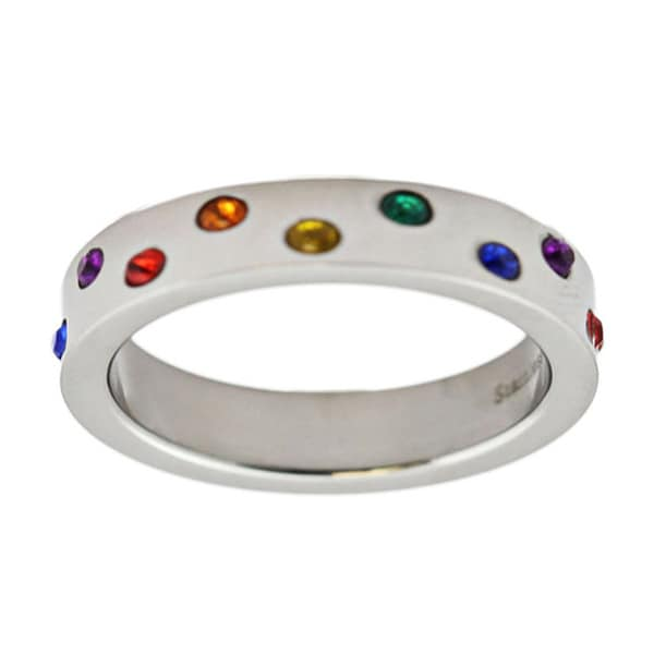 Gay Pride Wedding Band Rainbow Colored Stones