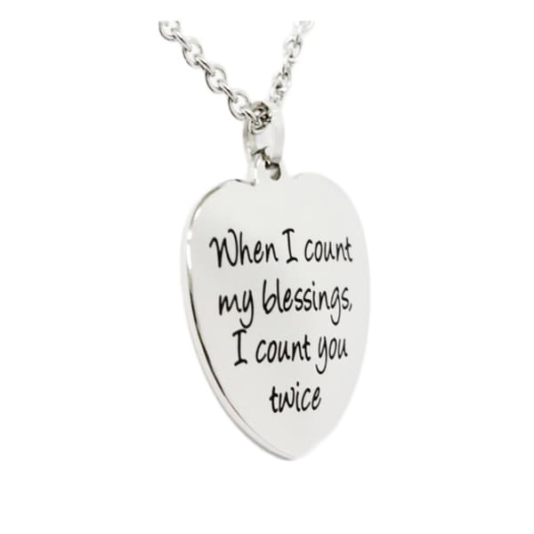 When I Count My Blessings Heart Pendant Necklace
