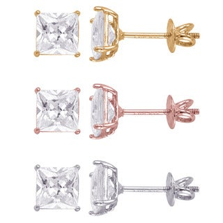Sterling Silver Square 6mm Superbright Screw-Back Cubic Zirconia Stud Earrings