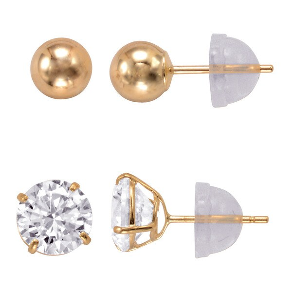 14k Gold 6mm Round Cubic Zirconia and 5mm Gold Ball Earrings Set