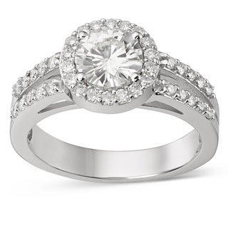 Charles and Colvard Forever Brillant 14k White Gold 1ct TGW Moissanite Bridal Ring
