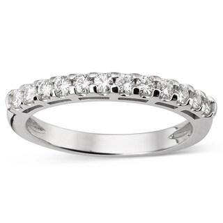 Charles & Colvard Created Moissanite 14k White Gold Forever Brillant Moissanite Accent Bridal Wedding Ring