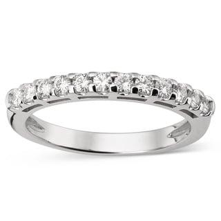 Charles and Colvard 14k White Gold Forever Brillant Moissanite Accent Bridal Wedding Ring