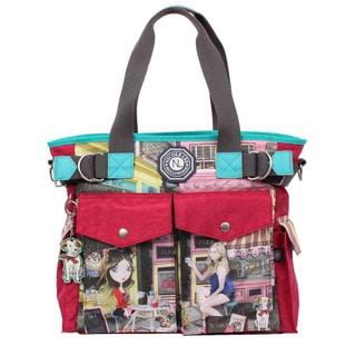 Nicole Lee Cupcake Girl Print Wrinkle-Resistant Crinkle Nylon Tote Bag