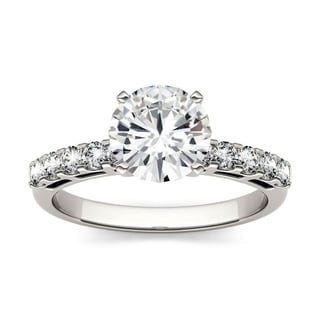 Charles & Colvard 14k Gold 1.80 TGW Round Forever Brilliant Moissanite Solitaire Ring with Sidestones