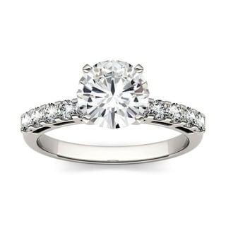 Charles and Colvard 14k White Gold 1 4/5ct TGW Round Forever Brillant Moissanite Bridal Ring