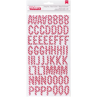 """Home For Christmas Thickers Alpha Stickers 5.5""""X11"""" 2/Sheets-Glittered Candy Cane/Chipboard"""
