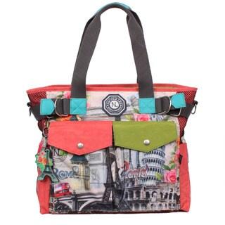 Nicole Lee Europe Print Wrinkle-Resistant Crinkle Nylon Tote Bag