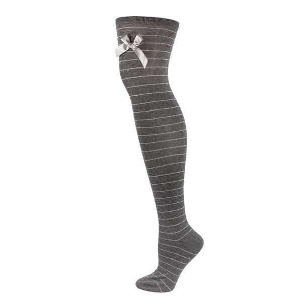Women's Grey Stripe Thigh-High Socks with Bowtie