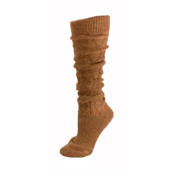 Minx Knit Knee High Slouchy Tan Wool Socks for Women