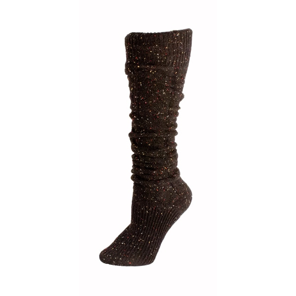 Minx Women's Slouchy Black Wool Knee High Socks