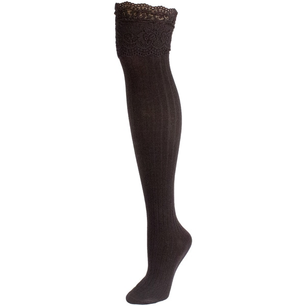 Minx Women's Lace Top Ribbed Knee High Socks
