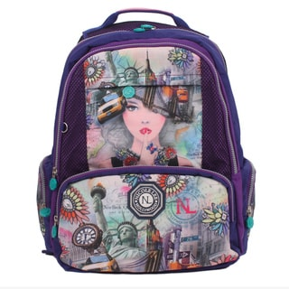 Nicole Lee New York 2 Print Wrinkle-Resistant Crinkle Nylon 18 Inch Backpack