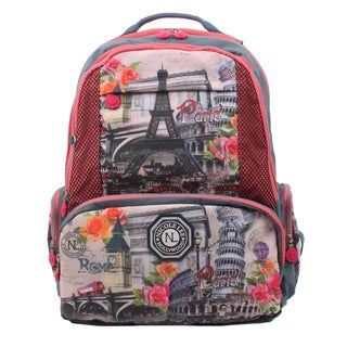Nicole Lee Europe Print Wrinkle-Resistant Crinkle Nylon 18 Inch Backpack
