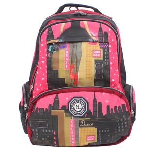 Nicole Lee Dark City Print Wrinkle-Resistant Crinkle Nylon 18 Inch Backpack