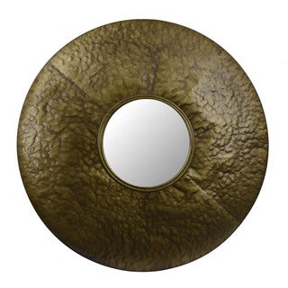 Round Textured Metal Wall Mirror