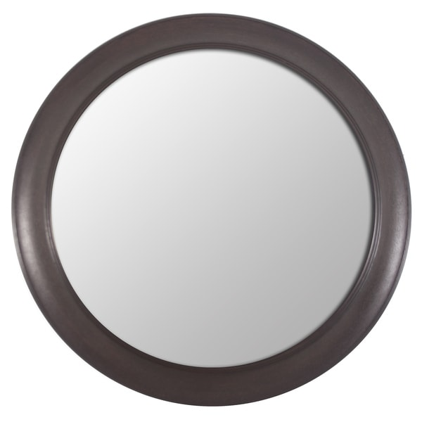 Bronze Woodgrain Round Mirror