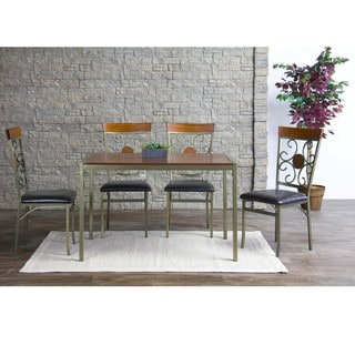 Baxton Studio Modica Wood and Metal 5-Piece Contemporary Dining Set