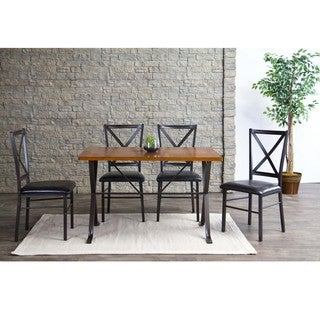 Baxton Studio Rexroth Wood and Metal 5-Piece Contemporary Dining Set