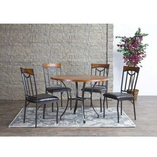 Baxton Studio Lancaster Wood and Metal 5-Piece Contemporary Dining Set