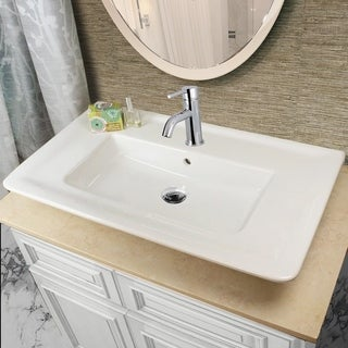 Highpoint Collection Vitreous China 32-inch Rectangle Vessel Sink with Faucet Hole and Overflow