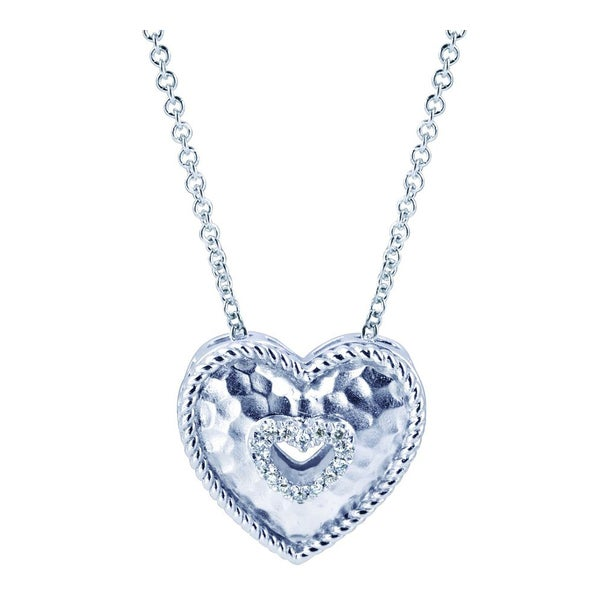 Sterling Silver Hammered Diamond Accent Heart Pendant