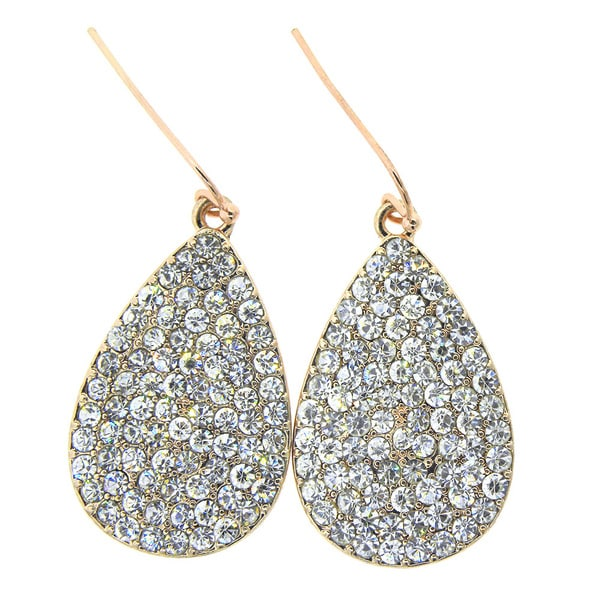 KC Signatures Rhodium-plated Gold Tear Drop White Quartz Earrings