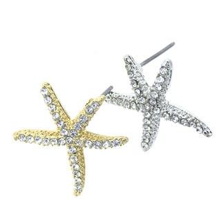 KC Signatures Gold and Rhodium Plated Starfish Studs with White Quartz