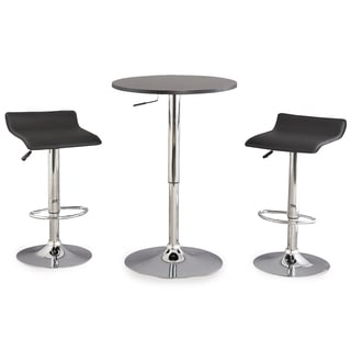 3-Piece Black Adjustable Height Pub Table Set