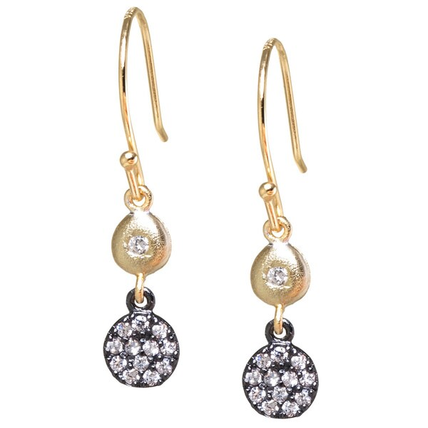 Gold over Sterling Silver and Black Rhodium Plated Sterling Silver White Cubic Zirconia Circle Drop Earrings