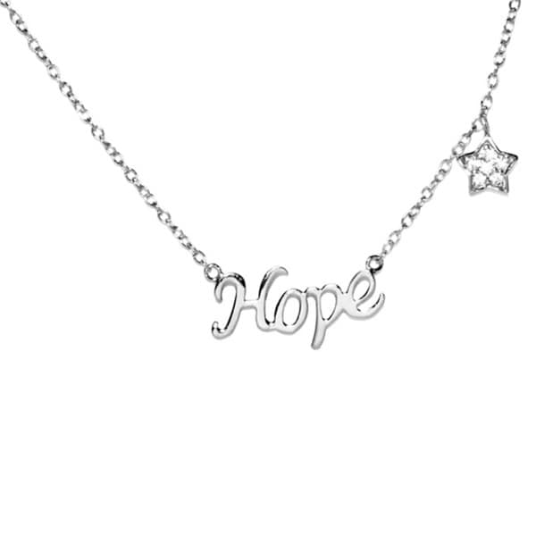 Sterling Silver Cursive 'HOPE' Chain Necklace with White Cubic Zirconia Star Dangling Charm