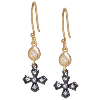Gold over Sterling Silver and Black Rhodium Plated Sterling Silver White Cubic Zirconia Small Cross Drop Earrings
