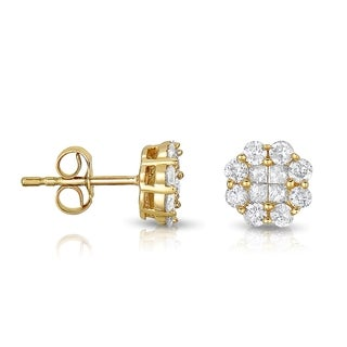 Eloquence 14k Yellow Gold 1ct TDW Diamond Stud Earrings (H-I, I1-I2)