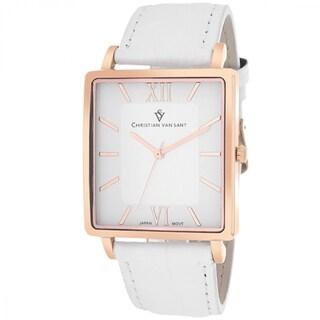 Christian Van Sant CV8513 Men's Monte Cristo Square White Strap Watch