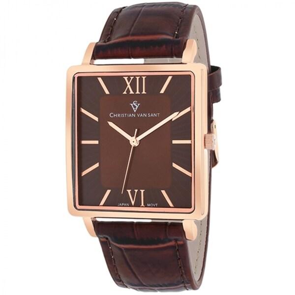 Christian Van Sant CV8515 Men's Monte Cristo Square Brown Strap Watch