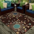 Indoor/ Outdoor Promise Collection Revati Brown Olefin Indoor/Outdoor Area Rug (7'8