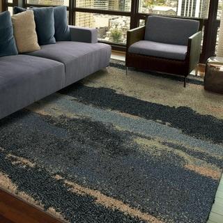 """Euphoria Collection Cabell Gray Blue Olefin Area Rug (7'10"""" x 10'10"""")"""