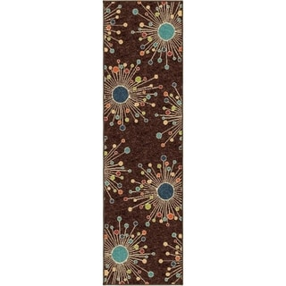 "Indoor/ Outdoor Promise Collection Revati Brown Olefin Indoor/Outdoor Runner Rug (2'3"" x 8')"
