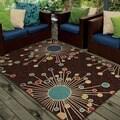 Promise Collection Revati Brown Olefin Indoor/Outdoor Area Rug (3'10