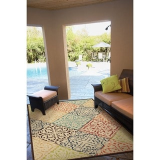 "Indoor/ Outdoor Promise Collection Walker Multi Olefin Indoor/Outdoor Area Rug (5'2"" x 7'6"")"