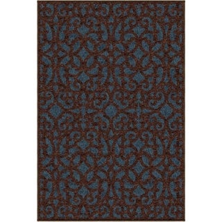 "Promise Collection Sanborne Blue Olefin Indoor/Outdoor Area Rug (7'8"" x 10'10"")"