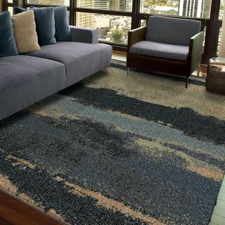 """Euphoria Collection Cabell Gray Blue Olefin Area Rug (5'3"""" x 7'6"""")"""