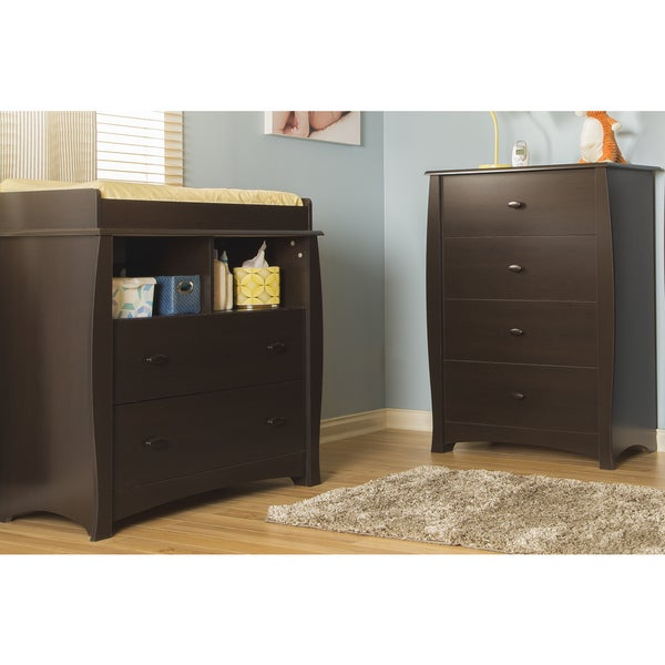 South Shore Beehive Espresso Changing Table and 4-drawer Chest 14364459
