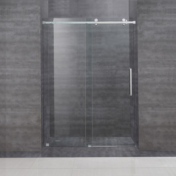 Aston 48 Inch Frameless Sliding Glass Shower Door Overstock Shopping