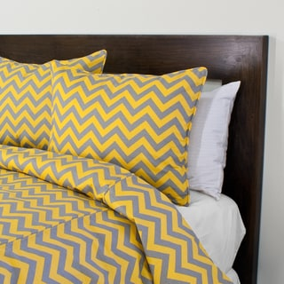 Zig Zag Grey-Yellow 3-piece Duvet Cover Set