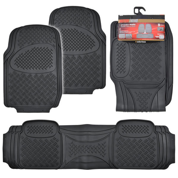 Motor Trend Diamond Odorless Trimmable Rubber Mats (Set of 3)