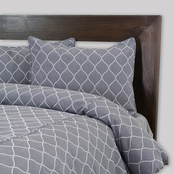 Oh Gee Heather Grey Corded 3-piece Duvet Cover Set